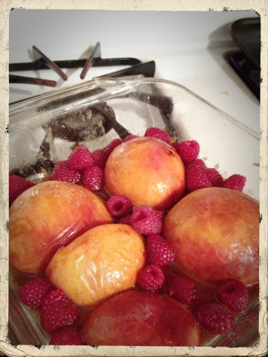Roasted Peaches and Raspberries
