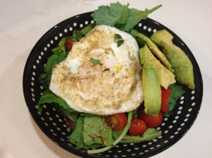 Fried Egg Basil Salad
