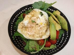 Fried Egg Basil Salad